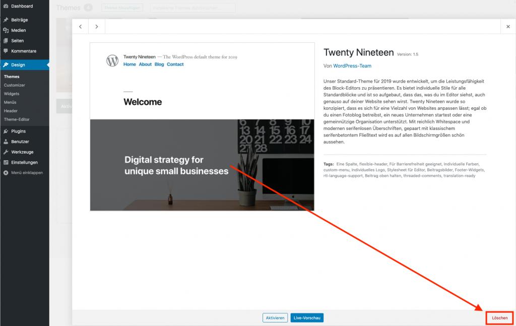 Webseiten Sicherheit Themes deinstallieren