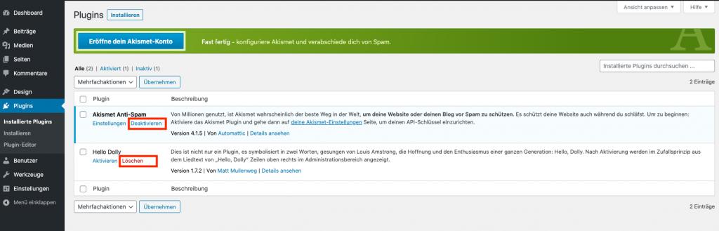 Wordpress Sicherheit Plugins deinstallieren