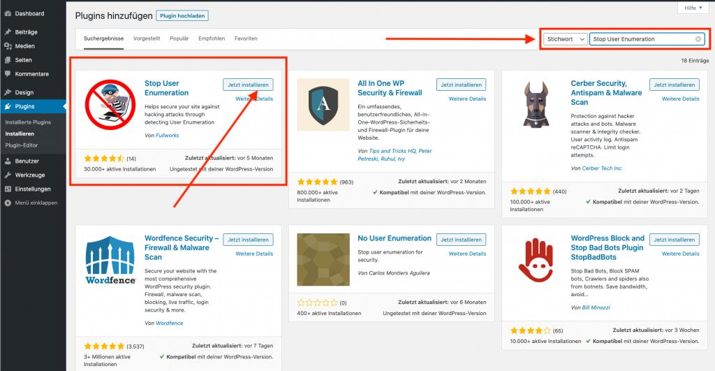 Wordpress Sicherheit Stop User Enumeration