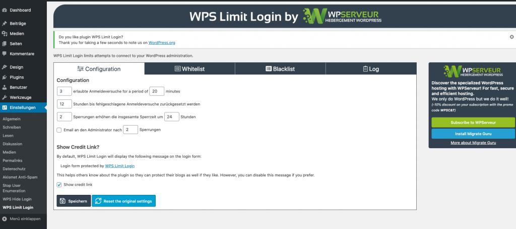 Wordpress Sicherheit WPS Limit Login konfigurieren