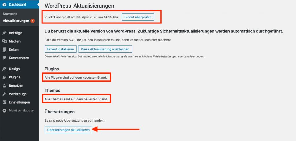 Wordpress Installation aktualisieren