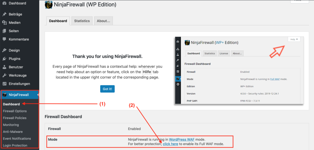 Wordpress Sicherheit FireWall Full WAF Mode