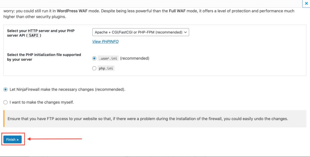 Wordpress Sicherheit NinjaFireWall Full WAF Modus aktivieren