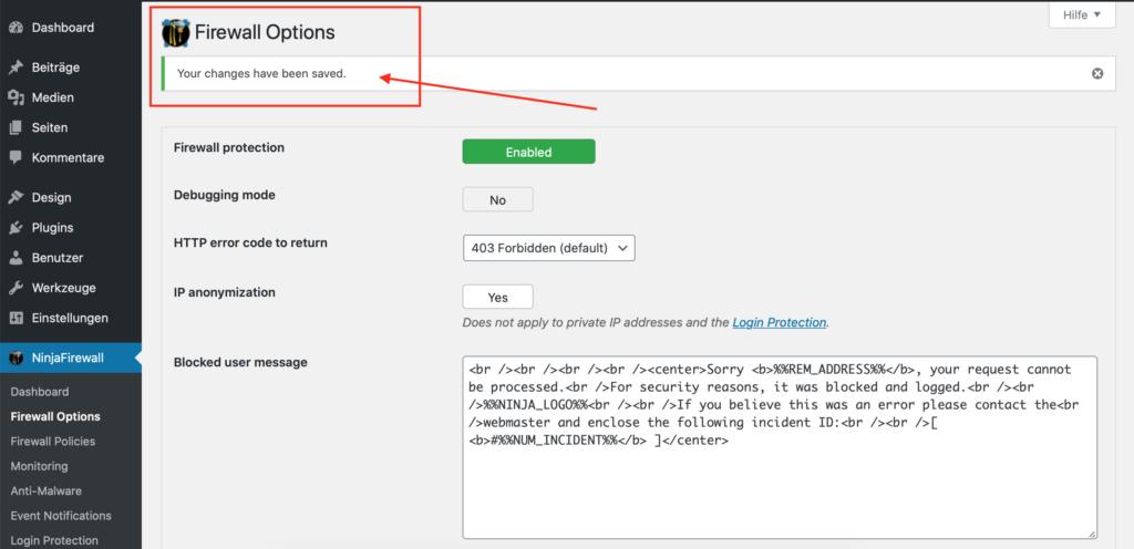 Wordpress Sicherheit NinjaFireWall Konfiguration gespeichert
