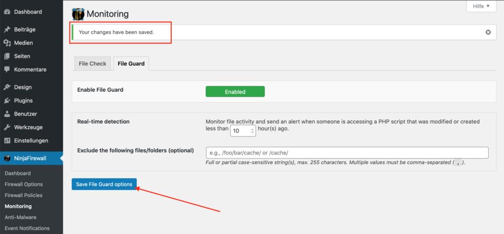 Wordpress Sicherheit NinjaFireWall Monitoring übernehmen