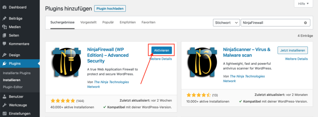 WordPress FireWall Sicherheit - NinjaFireWall aktivieren
