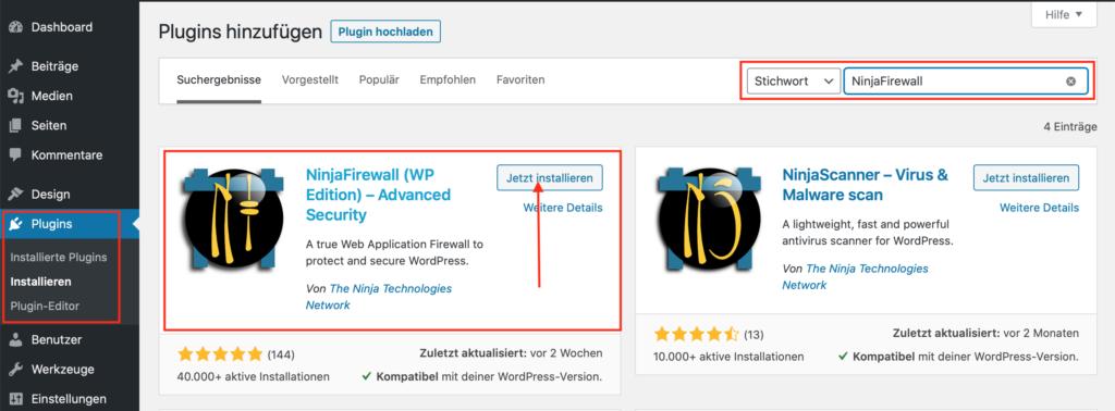 WordPress FireWall Sicherheit - NinjaFireWall installieren