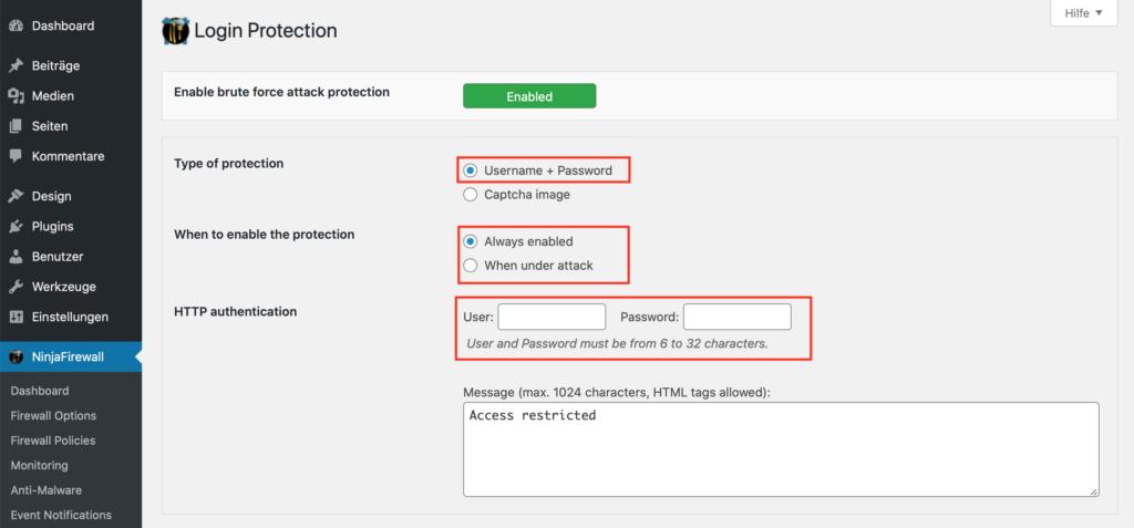 Wordpress Sicherheit NinjaFireWall Login Sicherheit
