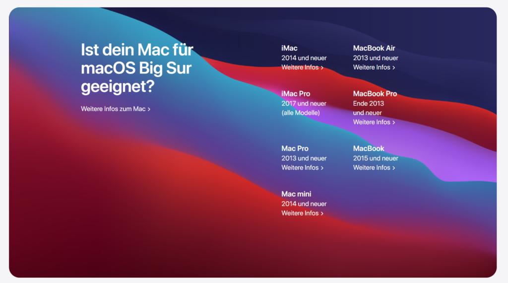 Vorsicht Probleme Apple macOS Big Sur Update
