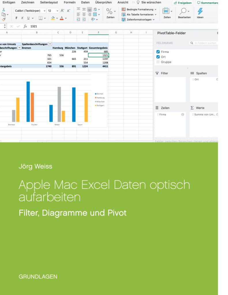 Apple Mac macOS Excel Daten Sortieren Filtern Gruppierung Diagramme Pivot Tabellen