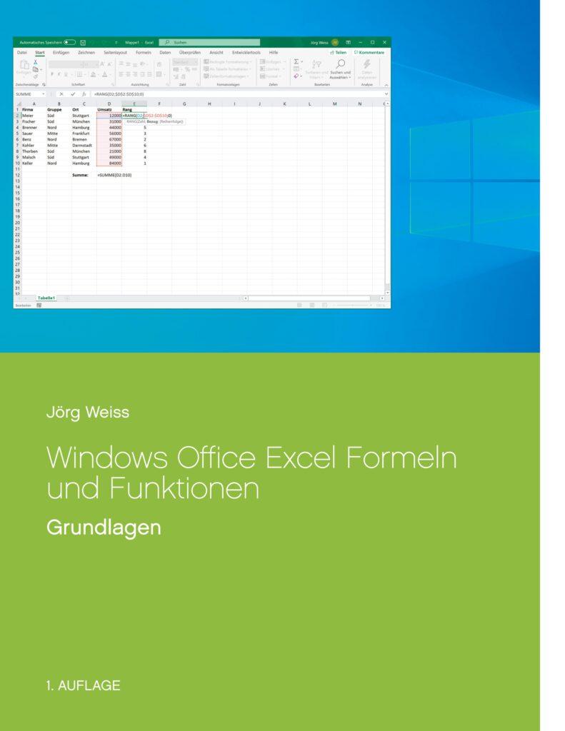 Buch Microsoft Windows Office Excel Formel und Funktionen Grundlagen